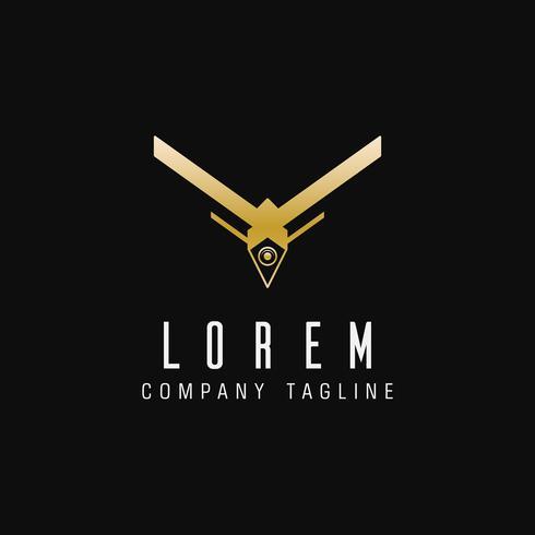 modelo de conceito de design de logotipo de tecnologia drone de luxo vetor