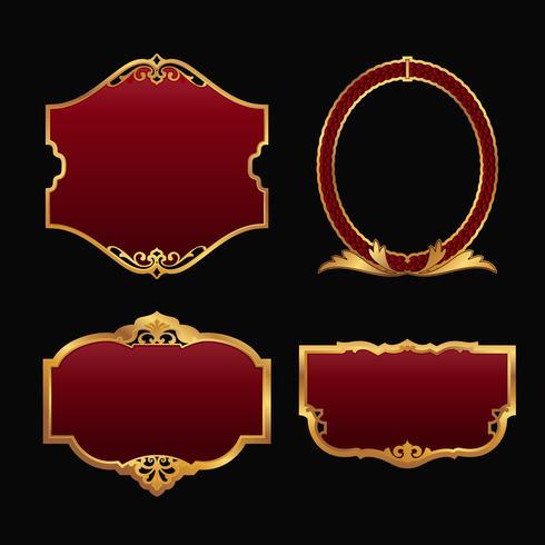 Conjunto de etiquetas con colección de marcos dorados decorativos 3D. vector