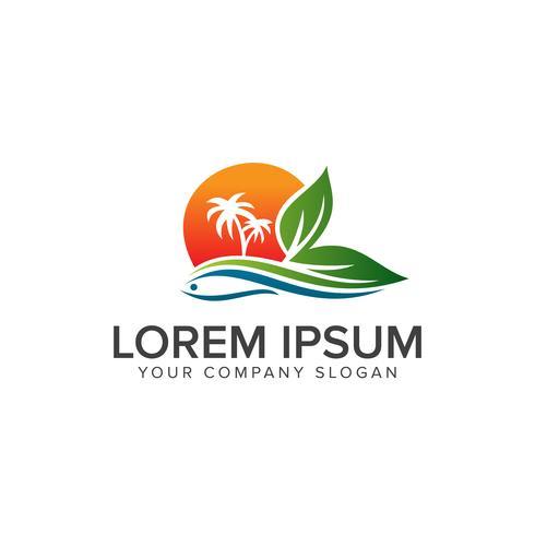 Landskap sommar Logo design koncept mall