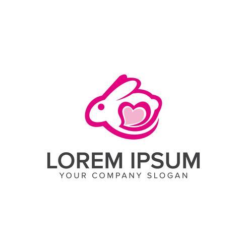 Plantilla de concepto de diseño de logotipo de amor de conejito vector