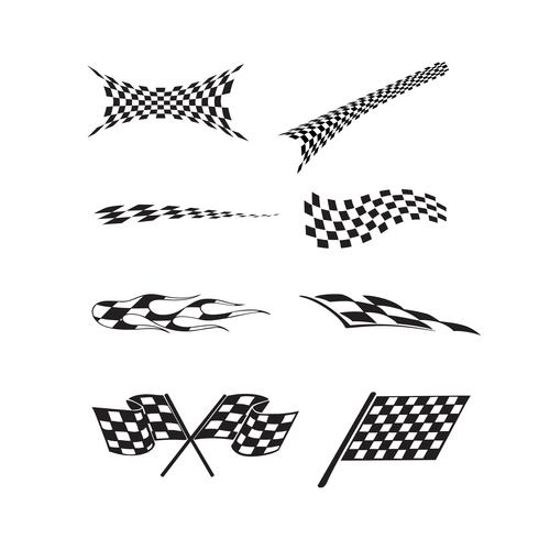Vector of checkered racing flag splatters.
