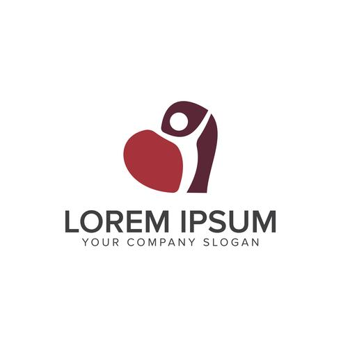 Plantilla de concepto de diseño de logotipo de personas con corazón vector