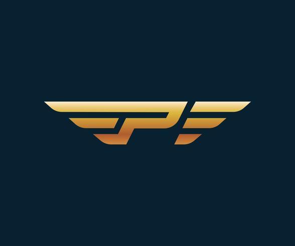 letter P wing logo design concept template