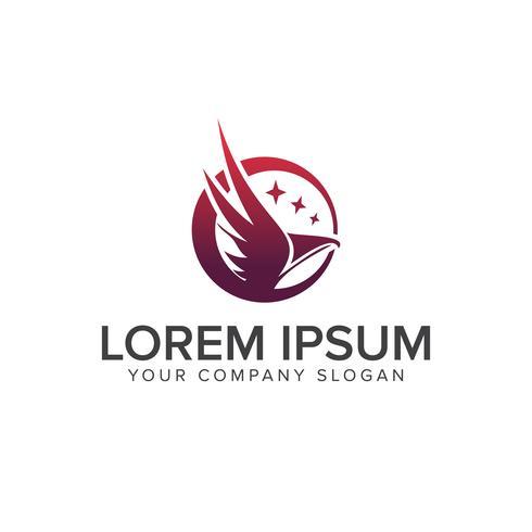 o pássaro e o modelo de conceito de design de logotipo estrela