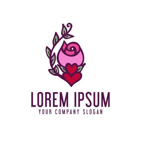 Me encanta el logo de la flor del jazmín. plantilla de concepto de diseño de doodle vector