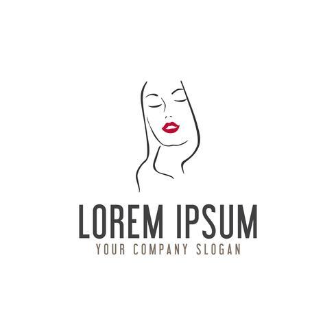 skönhet kvinna med röda läppar logo design koncept mall