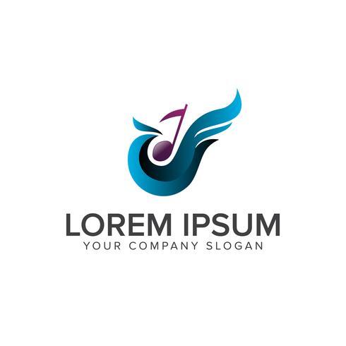 fåglar och musik logo design koncept mall