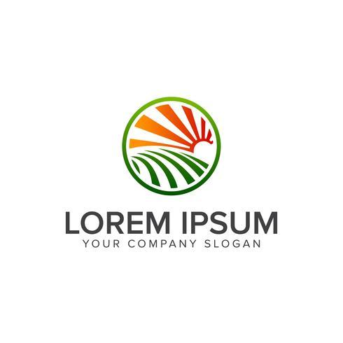 Plantilla de concepto de diseño de logotipo de paisaje jardín sol vector
