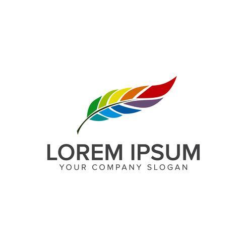 Logotipo de la hoja de la pluma. Plantilla de concepto de diseño multicolor vector