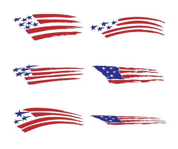 america flag vehicle graphic Vector Illustration set