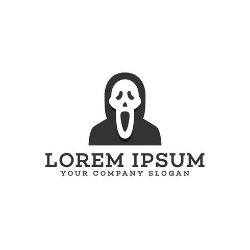 Scream mask logo design koncept mall
