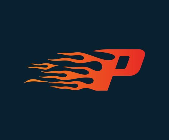 Logotipo de la letra P de la llama. Plantilla de concepto de diseño de logotipo de velocidad