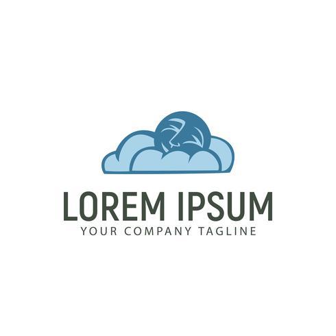 moln och måne logotyp design koncept mall