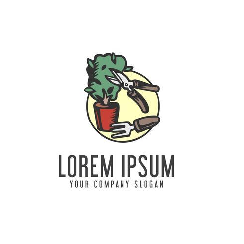 Concepto de jardinería Plantilla de concepto de diseño de logotipo