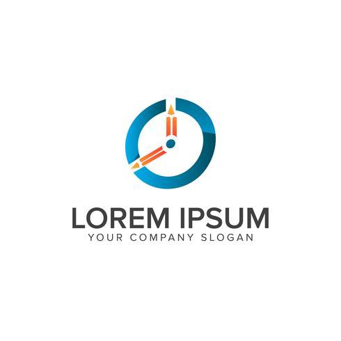 Plantilla de concepto de diseño de logotipo de educación de reloj vector