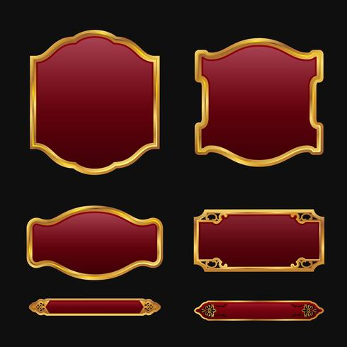 Labels with 3D decorative red golden frames collection set vector