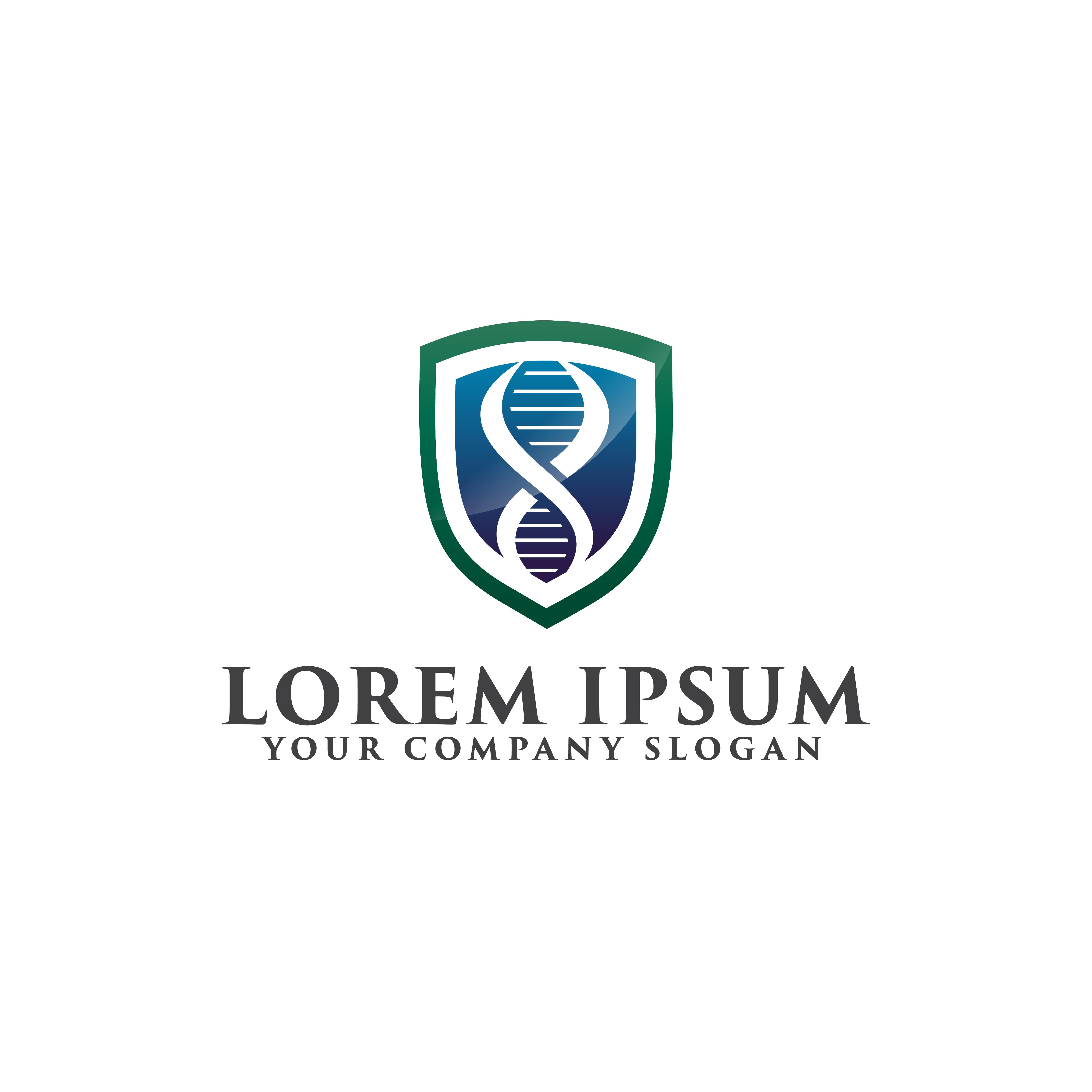 Medical Shield Logo  Genetic Logo Design Concept Template