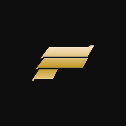 Letter F luxury metal logo design concept template