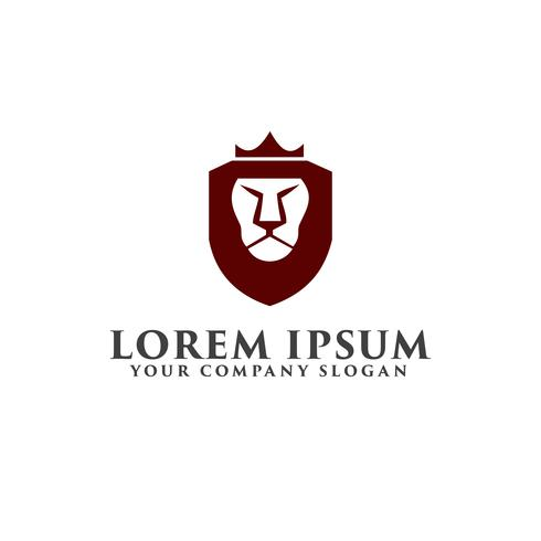 Lion shield with crown logo. luxury design concept template