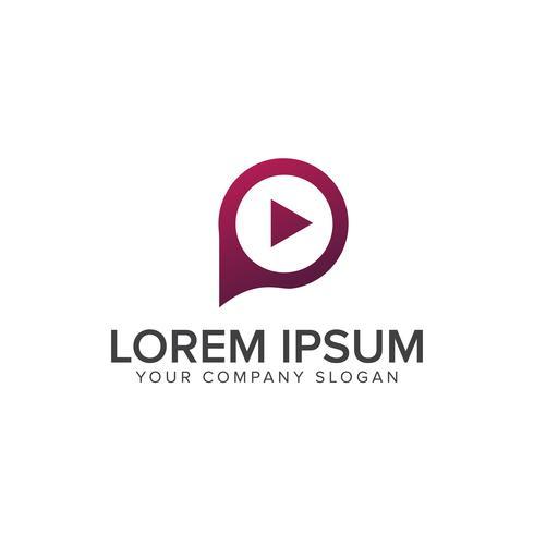suonare la lettera P logo. modello di concetto di media logo design