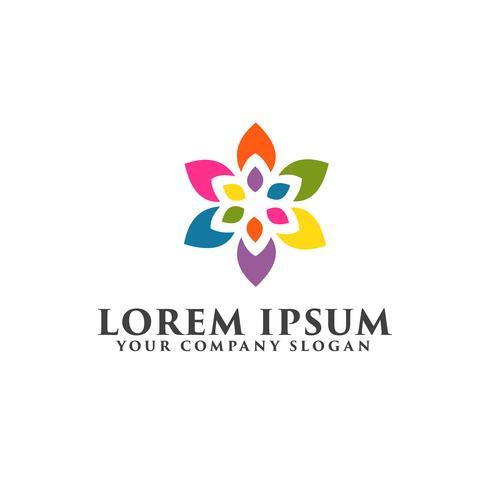 Plantilla de concepto de diseño de logotipo colorido hoja natural vector