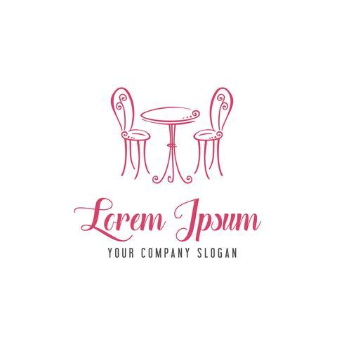 Silla romántica mesa logo. concepto de diseño de logotipo de cafetería romántica tem