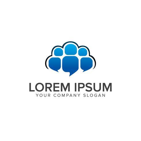 Comment people logo design concept template vector
