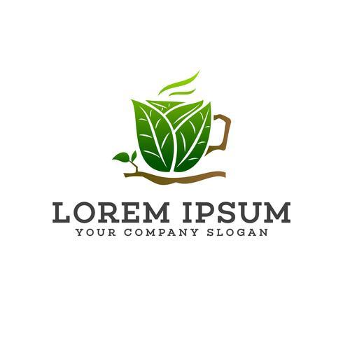 Plantilla de concepto de diseño de logotipo de hoja verde de bebida vector