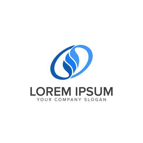 Modelo de conceito de design de logotipo de folha azul