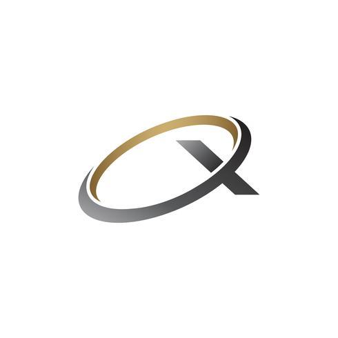 lettre x logo. modèle de concept de design logo rond argent or