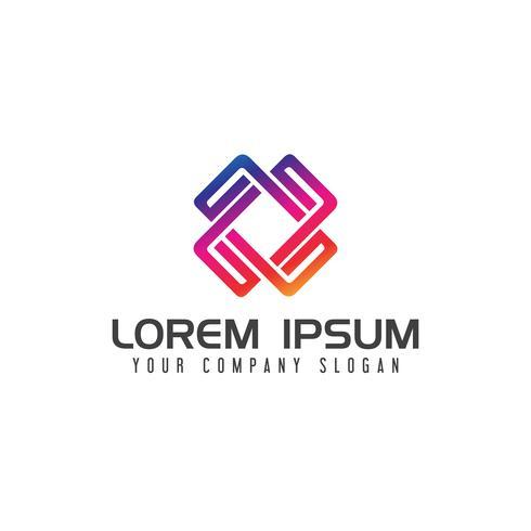 moderna fyrkant Media logo vibrerande färg design koncept mall