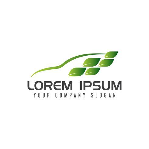 Logo del coche verde. plantilla de concepto de diseño de naturaleza