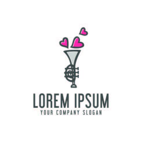 love saxophone logo. trumpet design concept template