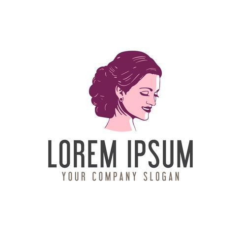beauty woman face logo design concept template design concept template vector