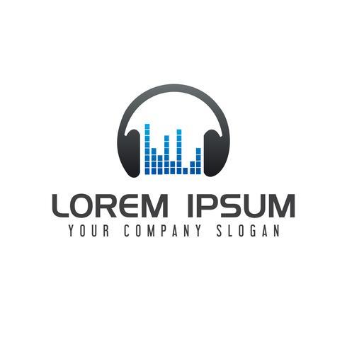 Logotipo de entretenimento de música. Conceito de design de logotipo de fones de ouvido