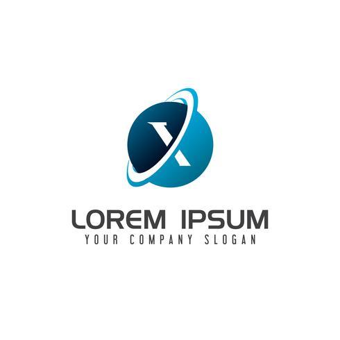 modello di concetto di disegno di lettera x tecnologia logo design