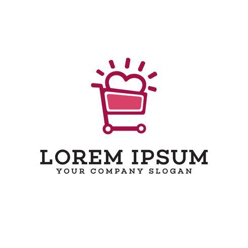 shopping love logo design concept template vector
