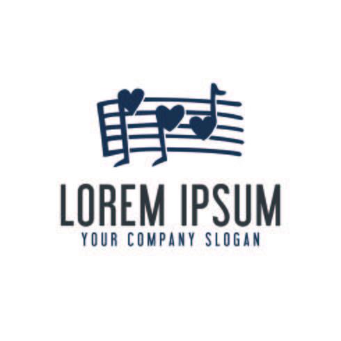 modello di concetto di disegno di musica nota logo