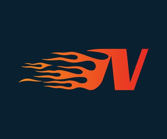 Letter N flame Logo. speed logo design concept template