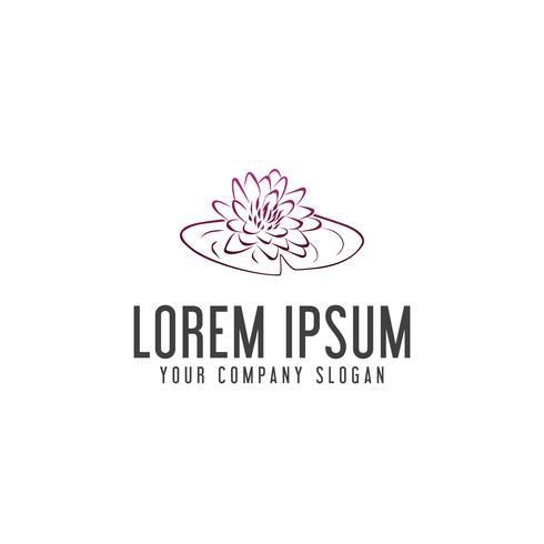 hand drawn lily flower logo design concept template
