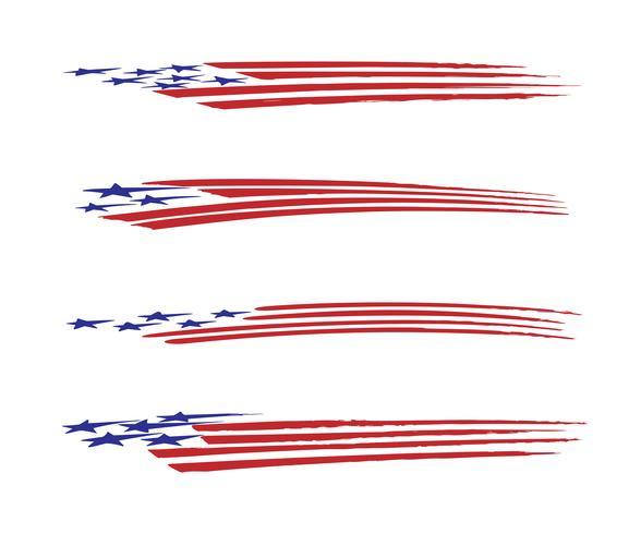 Amerika-Flaggenfahrzeuggraphik Vektor-Illustrationssatz vektor
