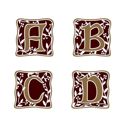decoration Letter A, B, C, D logo design concept template vector