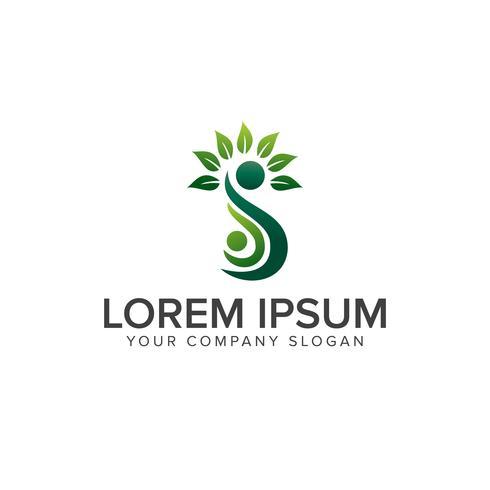 leaf people logo design concept template