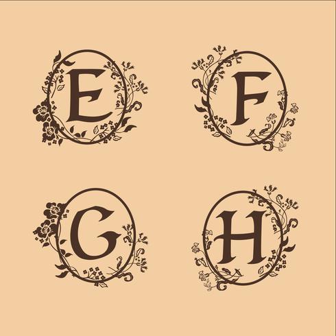 decoratie Letter E, F, G, H logo ontwerpsjabloon concept