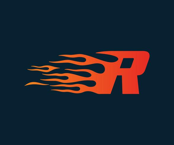 Letter R flame Logo. speed logo design concept template