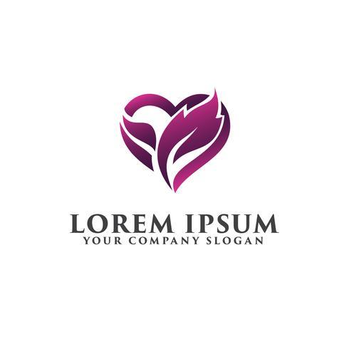 Blattliebesherzlogo, romantische Logodesign-Konzeptschablone