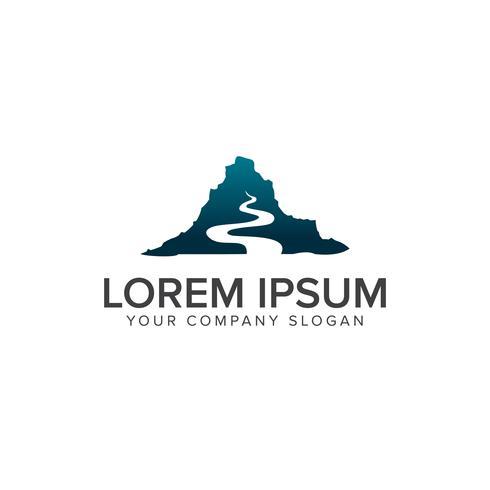mountain road logo design concept template vector