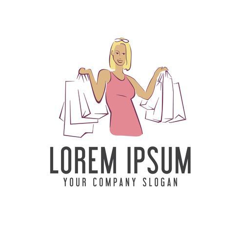 Frau Einkaufstasche Logo-Design-Konzept-Vorlage