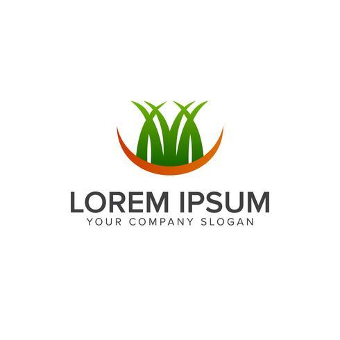 logo dell'erba. modello di concetto di progettazione logo giardino paesaggistico