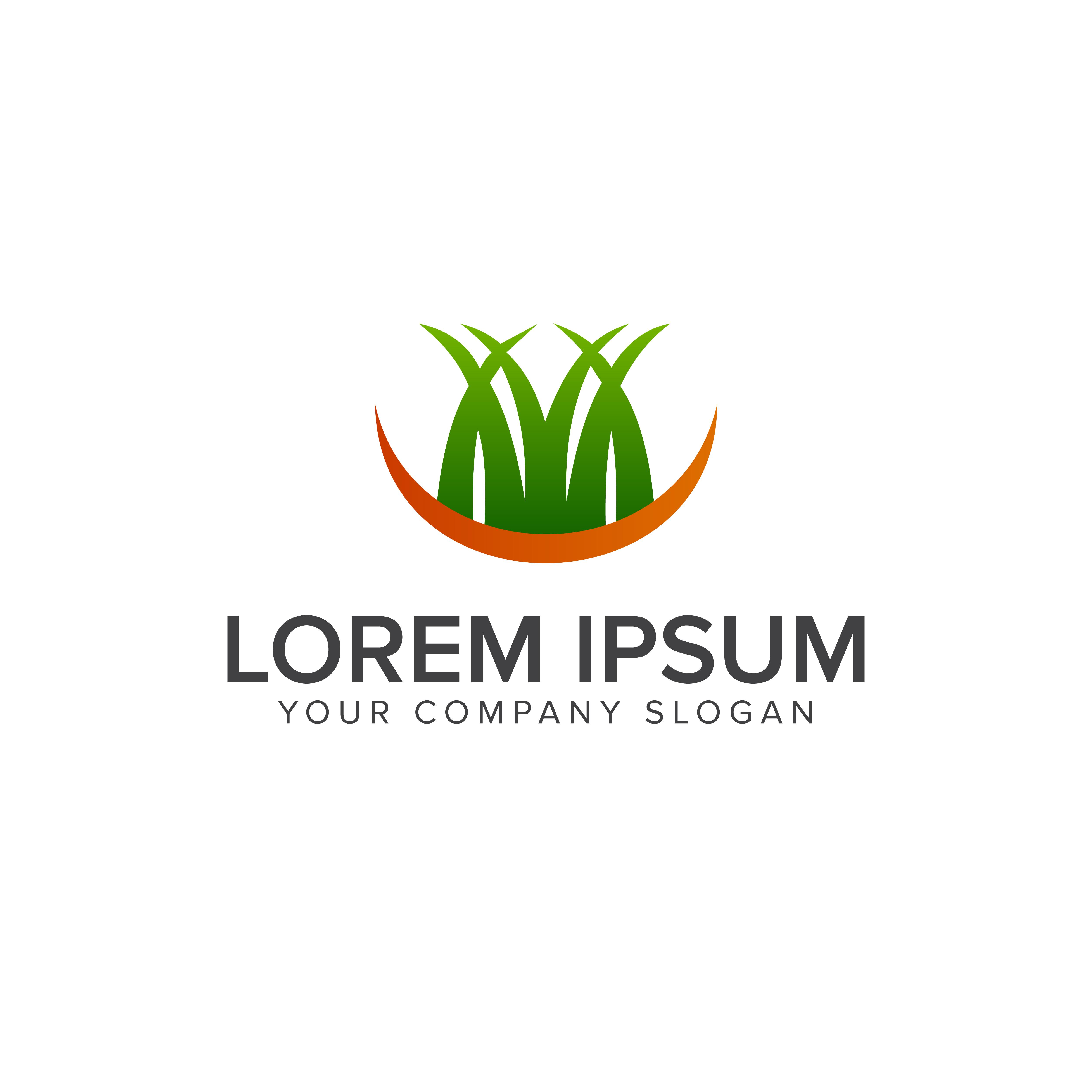 grass logo. landscaping garden logo design concept ...